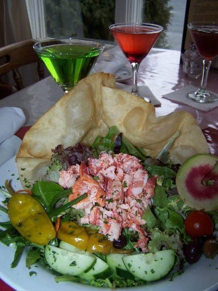 Salad with lobster meat