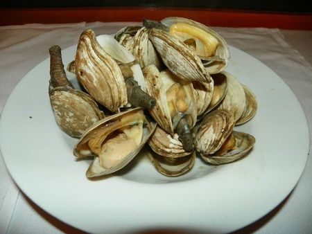 Freshly steamed clams